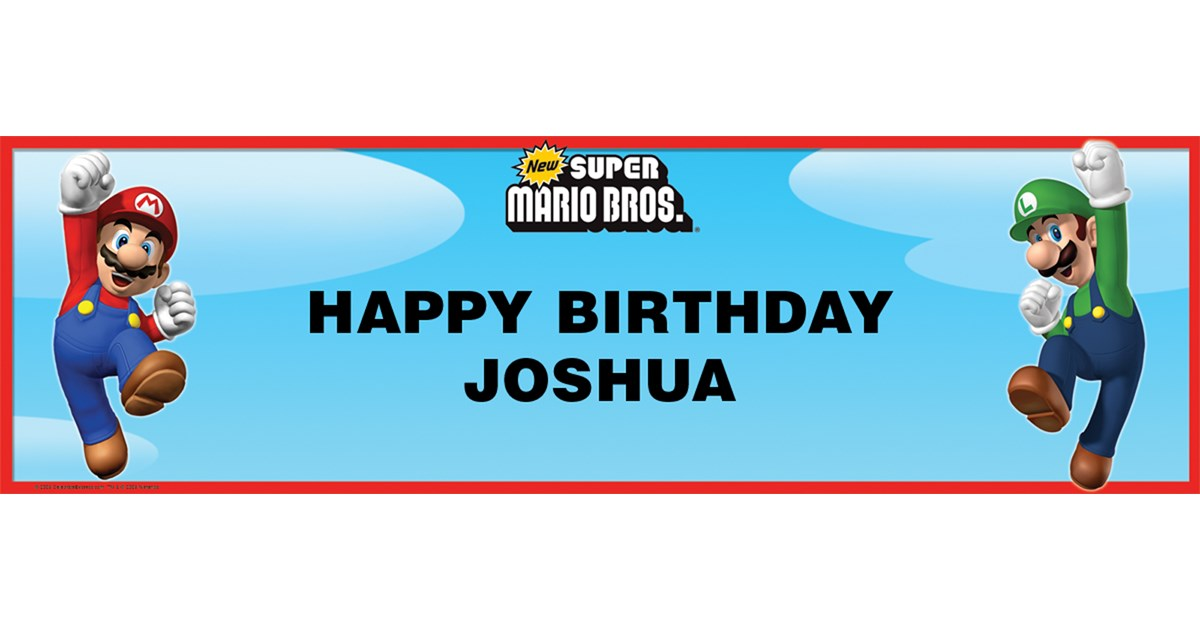 Super Mario Bros Personalized Vinyl Banner