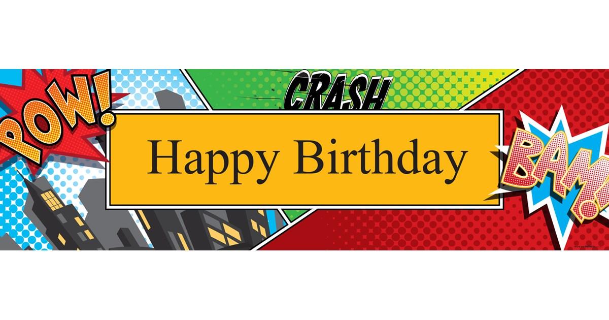 Superhero Comics Birthday Banner | BirthdayExpress.com