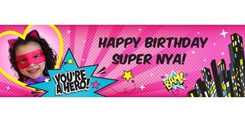 Superhero Girl Personalized Photo Banner