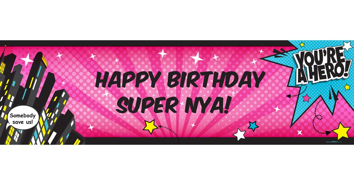 superhero girl personalized text banner