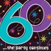 The Party Continues 60th Birthday Napkin