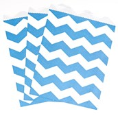 True Blue Chevron Paper Treat Bags (10)
