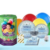 Twinkle Twinkle Little Star Blue 16 Guest Kit with Tableware and Helium Kit
