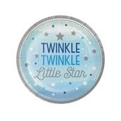 """Twinkle Twinkle Little Star Blue 7"""" Dessert Plates (8)"""