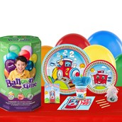 Two-Two Train 16 Guest Party Pack and Helium Kit