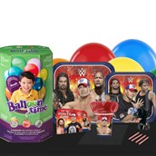 WWE  Never Give Up Deco Kit 16 Guest Party Pack - Tableware & Helium Tank