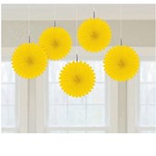 Yellow Mini Hanging Fan Decorations