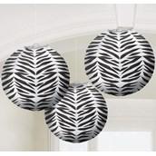 Zebra Print Round Paper Lanterns (3)