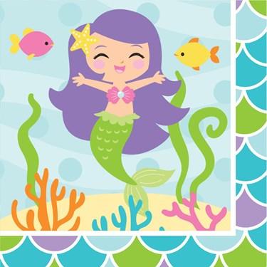 Mermaid Friends Beverage Napkins (16)