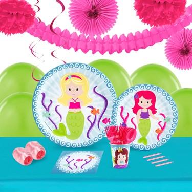 Mermaids 16 Guest Tableware & Deco Kit