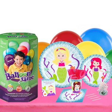 Mermaids 16 Piece Tableware & Helium Tank