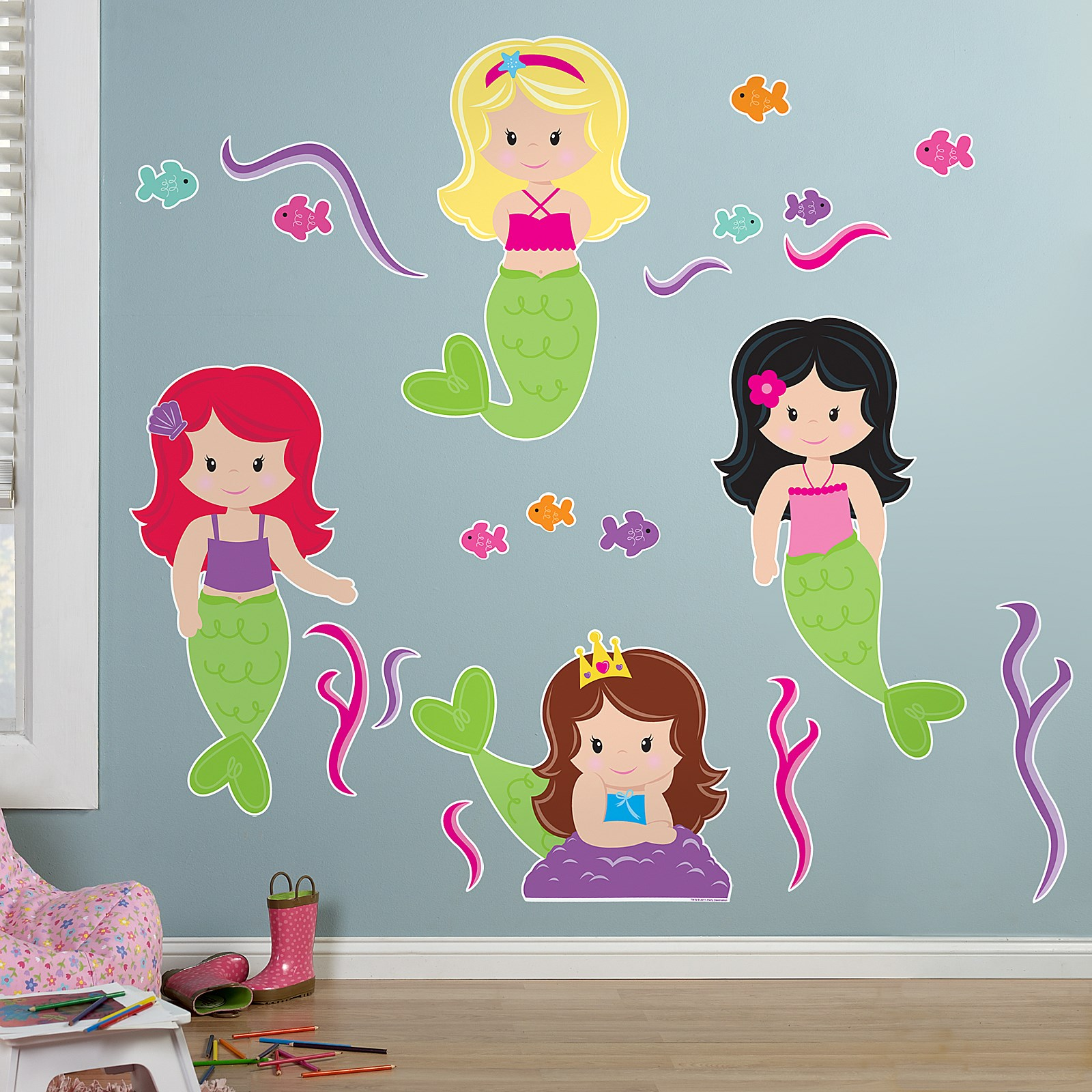mermaids giant wall decals birthdayexpress com forwalls mermaids removable wall decal stickers