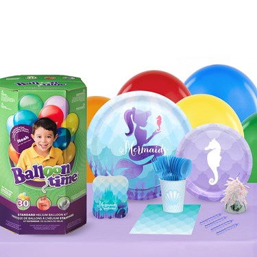 Mermaids Under The Sea 16 Guest Party Pack and Helium Kit