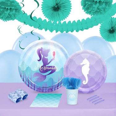 Mermaids Under The Sea 16 Guest Tableware & Deco Kit