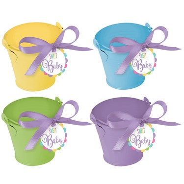 Metal Pastel Pail Baby Shower Favor Kit