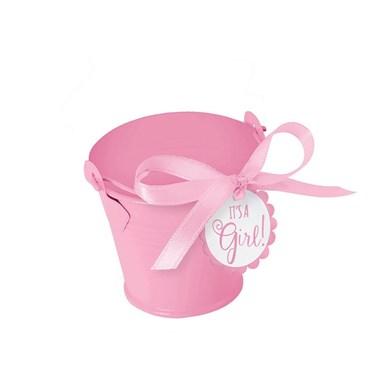 Metal Pink Pail Baby Shower Favor Kit (1