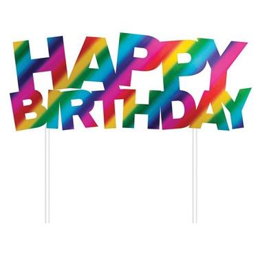 "Metallic Rainbow ""Happy Birthday"" Cake Topper"