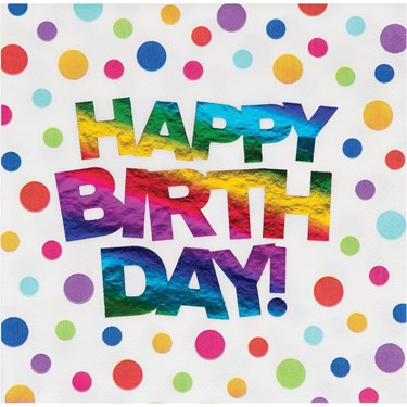 Metallic Rainbow Happy Birthday Lunch Napkin (16)