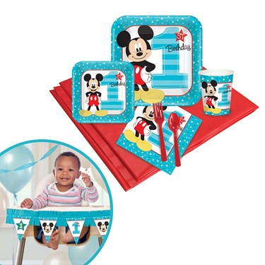 Mickey Mouse 1st Birthday Tableware & High Chair Kit