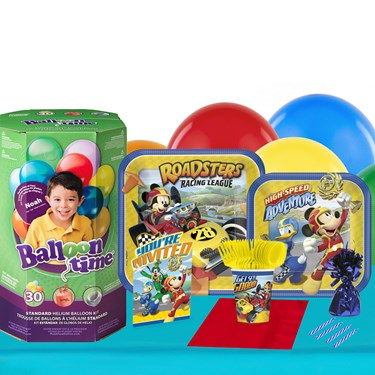Mickey Roadster 16 Guest Party Pack - Tableware & Helium Tank