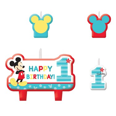 Mickey's Fun To Be One Candle Set (4)