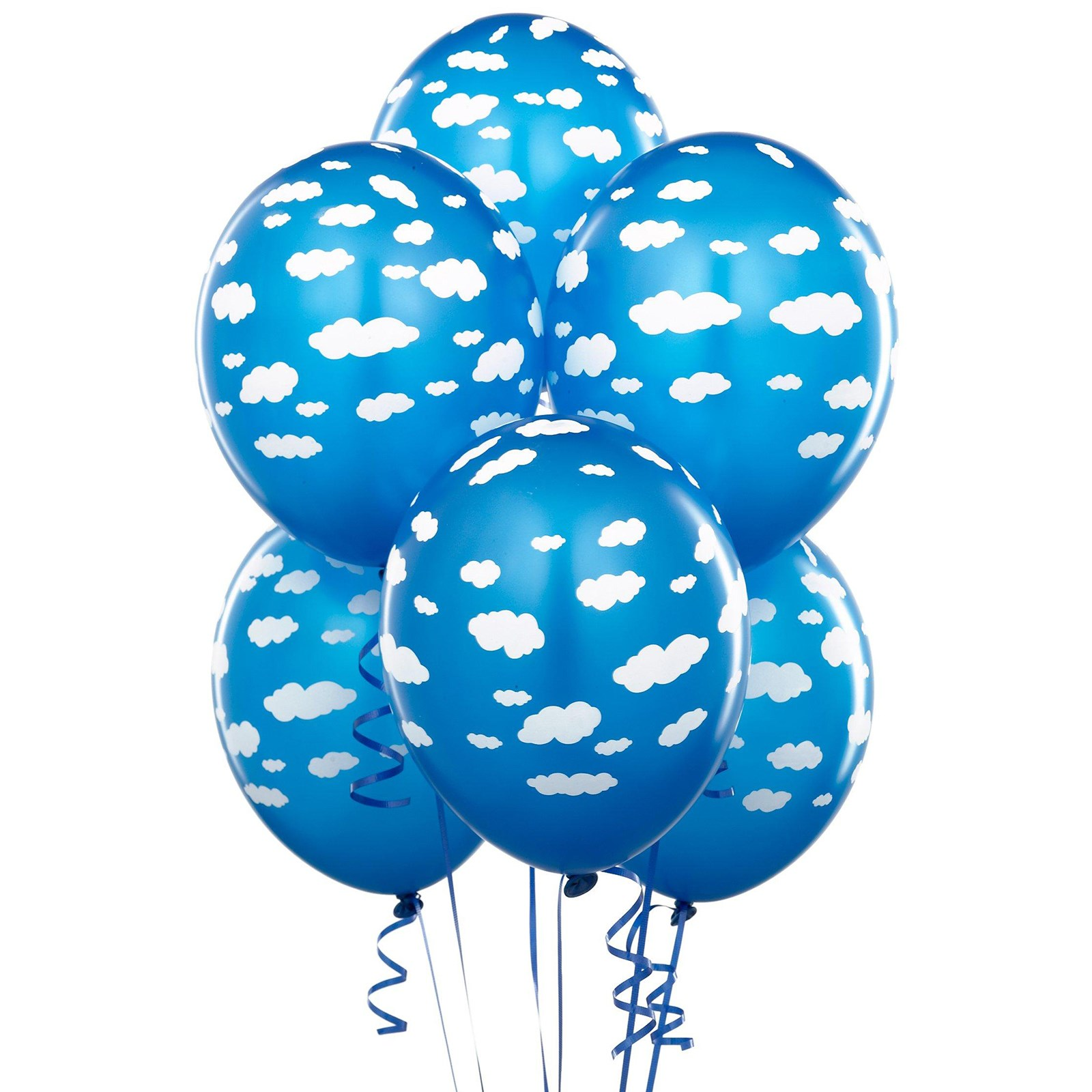 Mid blue with clouds matte balloons for Balloon cloud decoration