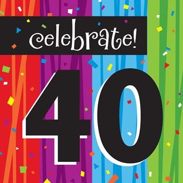 "Milestone Celebrations ""40"" Lunch Napkins (16)"