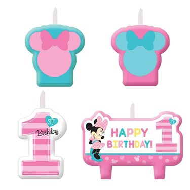 Minnie Fun To Be One Birthday Candle Set(4)