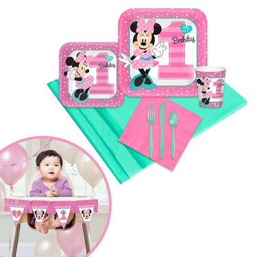 Minnie Mouse 1st Birthday Tableware & High Chair Kit