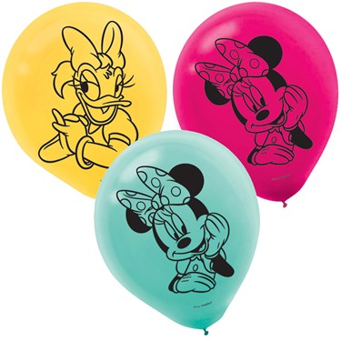 Minnie Mouse Helpers Latex Balloons (6 )