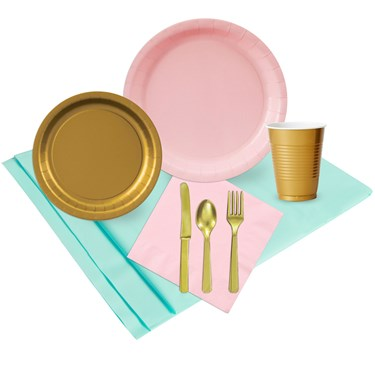 Mint Pink & Gold Party Pack (24)