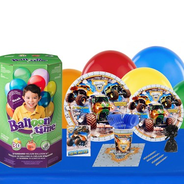 Monster Jam 3D 16 Guest Kit with Tableware and Helium Kit
