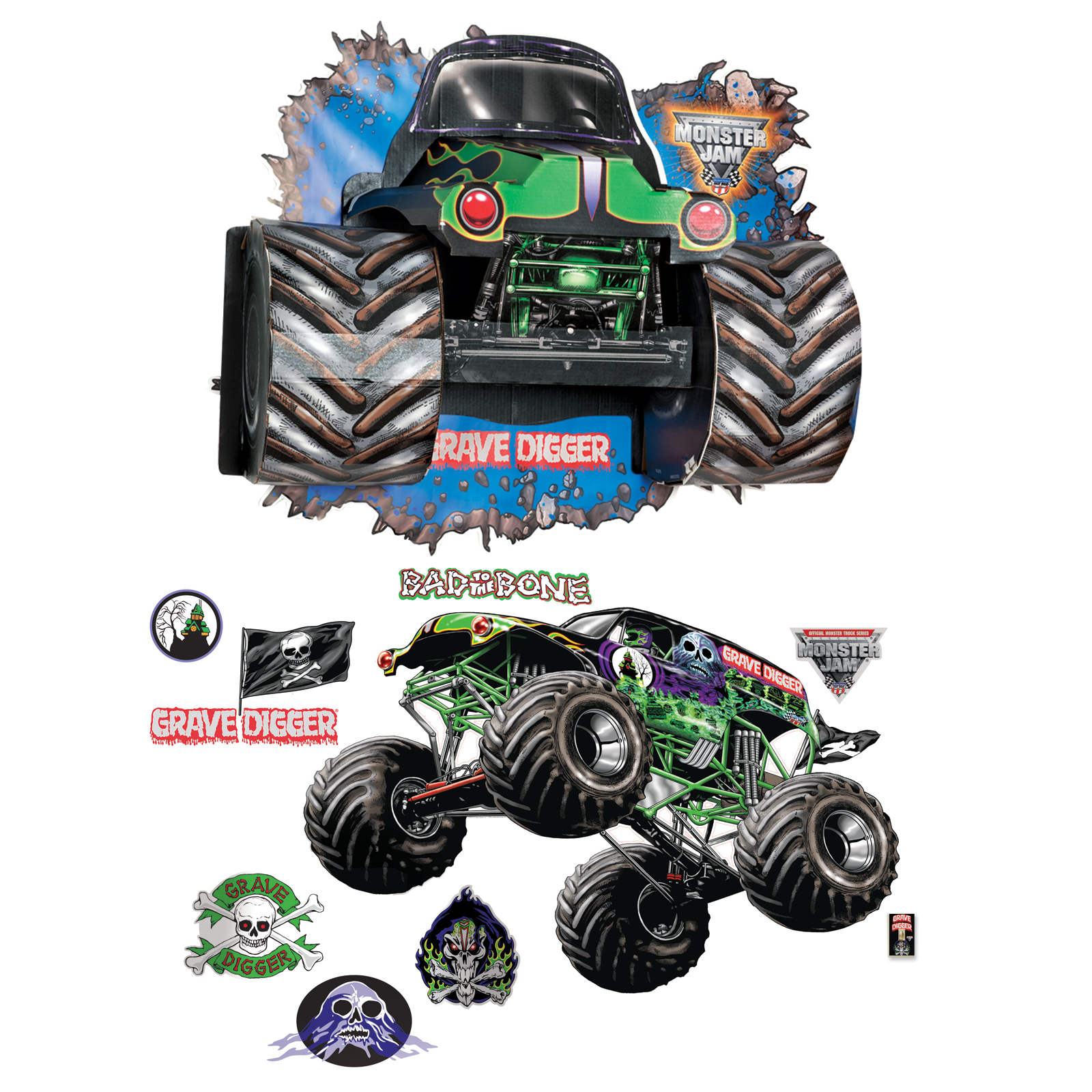 Monster Truck Wall Stickers Part - 23: Default Image - Monster Jam 3D Giant Decals And Wall Burst Kit ...