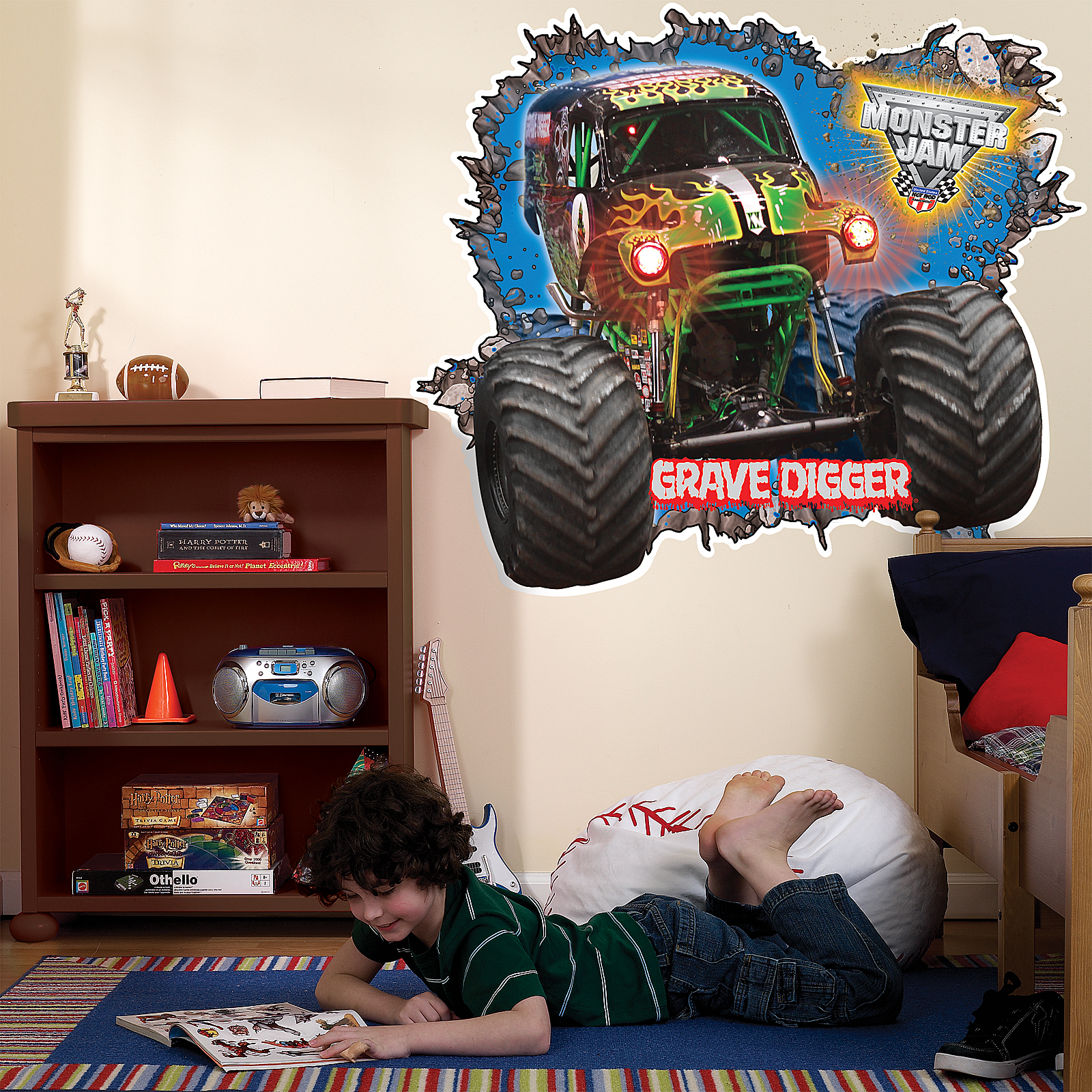 Amazing Monster Truck Wall Stickers Part - 7: Default Image - Monster Jam 3D Giant Wall Decals