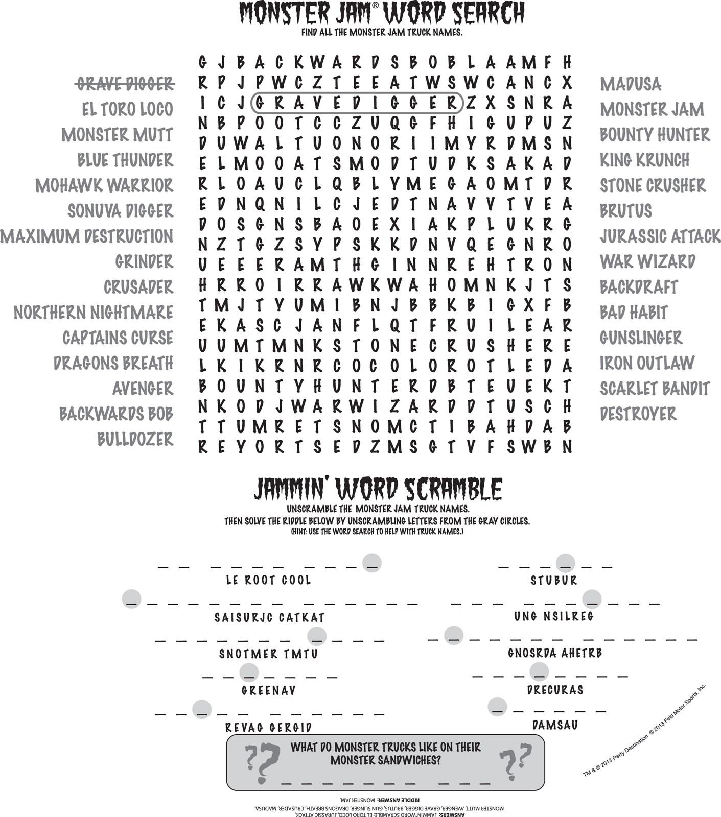 Uncategorized Monster High Activity monster jam 3d round activity placemats birthdayexpress com alt image 1 placemats