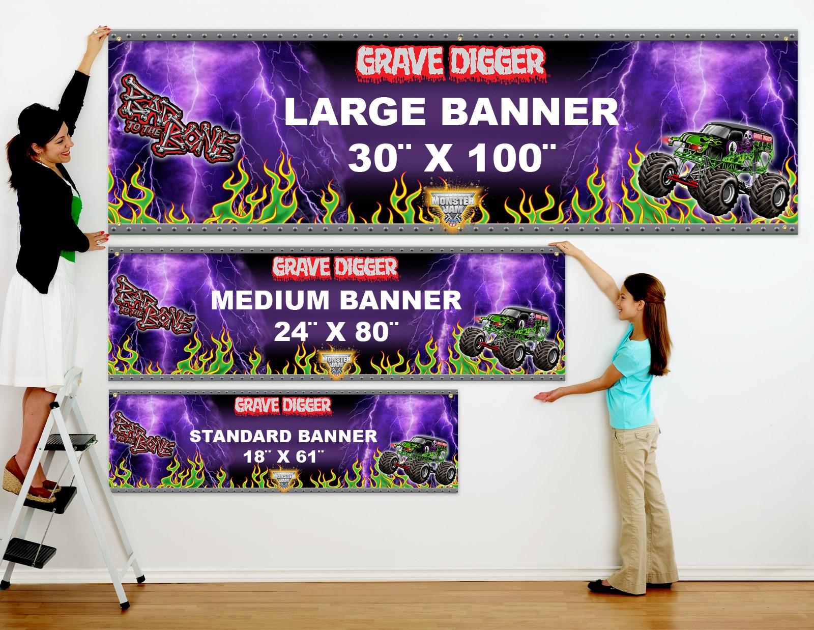 monster jam  grave digger personalized vinyl banner