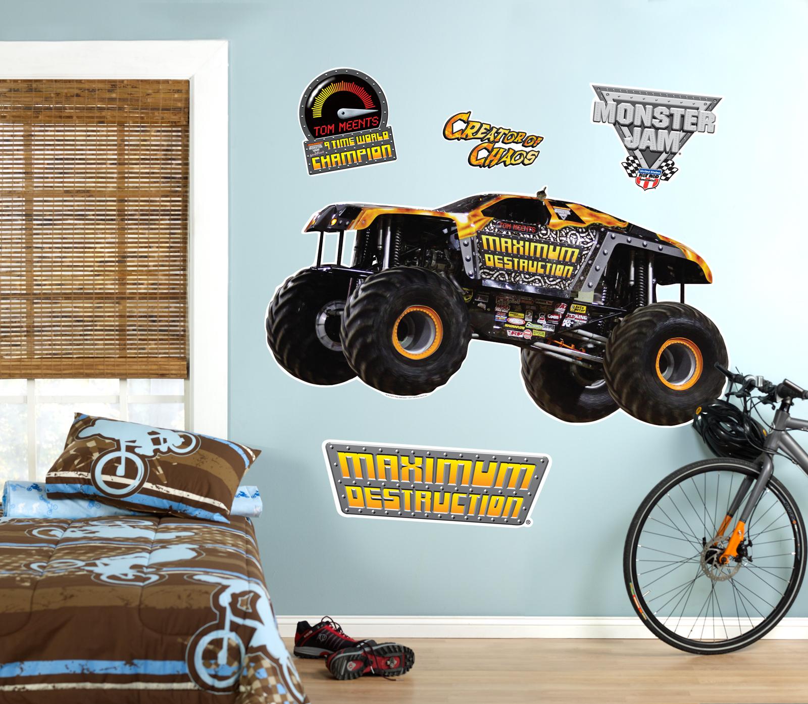 Charming Monster Truck Wall Stickers Part - 2: Default Image - Monster Jam Maximum Destruction Giant Wall Decal