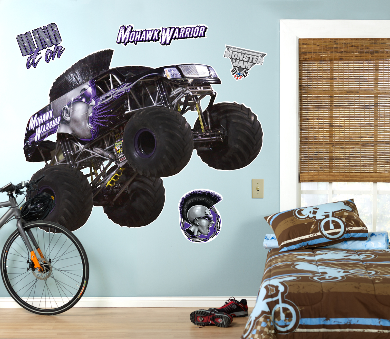 Ordinary Monster Truck Wall Stickers Part - 3: Default Image - Monster Jam Mohawk Warrior Giant Wall Decal