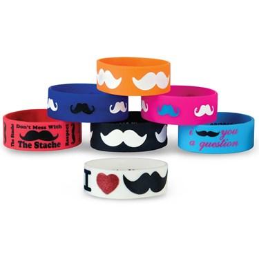 Moustache Rubber Bracelet Asst.