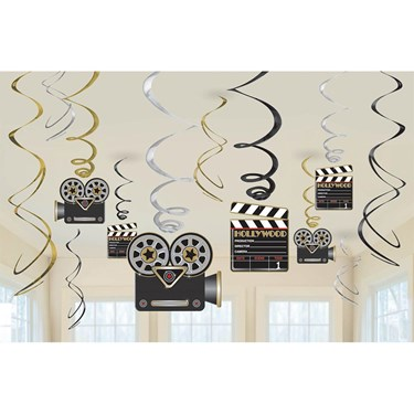 Movie Foil Swirl Hanging Decorations (1)
