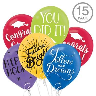 Multicolor Graduation Latex Balloons wit