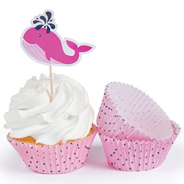 Nautical Pink Baking Cups with Picks (100 Count)