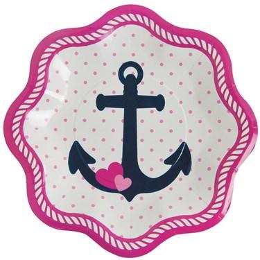 Nautical Pink Dessert Plates (8 Count)