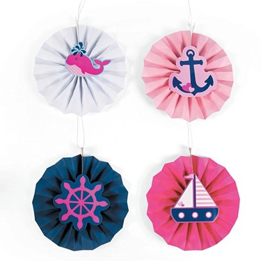 Nautical Pink Hanging Fans With Icons