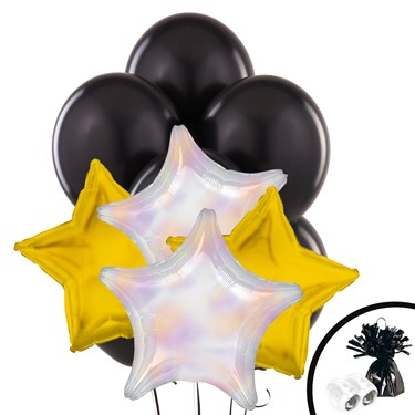 Gold & Iridescent Star Balloon Bouquet