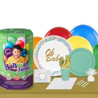 Oh Baby 16 Guest Party Pack and Helium Kit