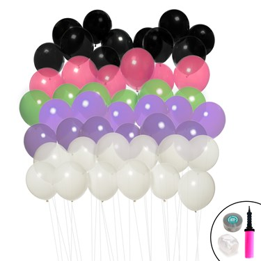 Ombre Balloon Kit (Black, Polka Dot, Purple, Lime & Pink)