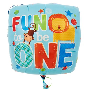 Fun at One Boy Foil Balloon