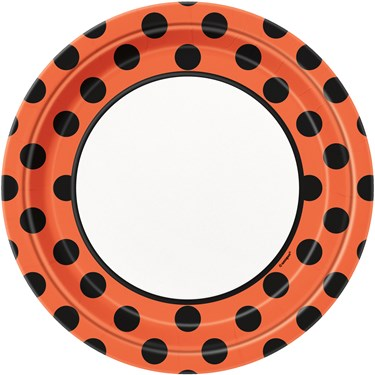 Orange and Black Dot Paper Dinner Plates