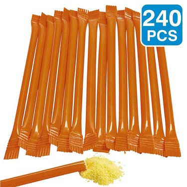 Orange Candy Filled 6 Straws (240 Pack)